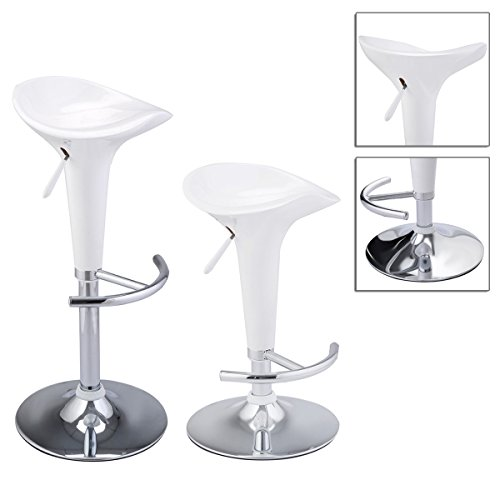 2pcs Adjustable Counter Swivel Chair White Bombo Modern Style Barstools With Chrome Base , 360 Degrees Swivel TSE105A