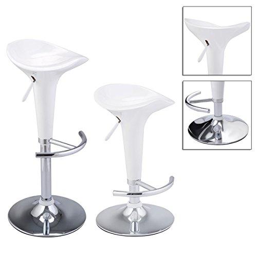 2pcs Adjustable Counter Swivel Chair White Bombo Modern Style Barstools With Chrome Base , 360 Degrees Swivel TSE105A