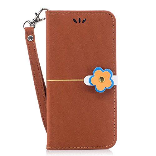 iPhone 7 Carcasa Flip Wallet, Ranuras para tarjetas] iPhone 7 Case PU de la cover de cuero delgado tirón de la carpeta cubierta protectora del soporte funda para iPhone 7 4.7 marrón flor del ciruelo marrón