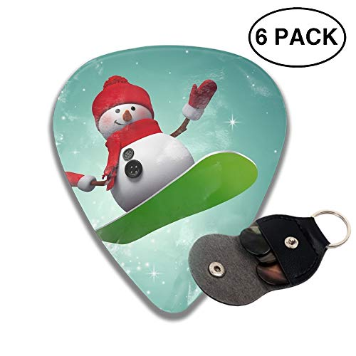 (351 Shape Medium Classic Celluloid Picks, 6 Pack, Surfing Snowman Guitar Picks for electric guitar, acoustic guitar, mandolin, and bass)