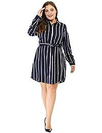 Agnes Orinda Women's Plus Size Striped Dress Tie Waist Long Sleeve Button Down Shirt Dress