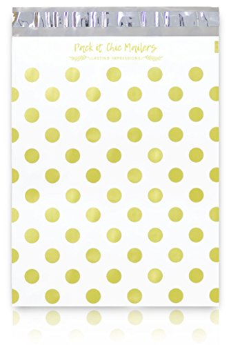 """[ 100-10"""" X 13"""" ] Gold Polka Dots Pattern Custom Poly Mailer Envelope Shipping Bags, Tear Proof & Powerful Self Seal Adhesive Postal Bags (Other Designs Available) - Pack It ()"""