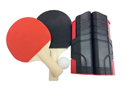 Portable Table Tennis Post Set Ping Pong Net Replacement Set,Includes Net,Paddles,Ball,Anywhere/Any Table to Play