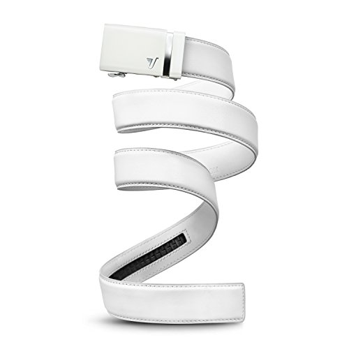 (Mission Belt Men's Ratchet Belt - Alpine 40 - White Buckle/White Leather, Small (28-32))