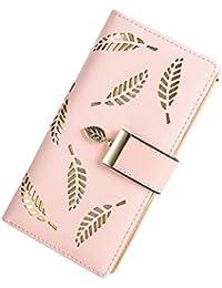 joyebuy lindo de la mujer Hojas larga de piel titular de la tarjeta cartera con cierre hebilla Embrague cartera
