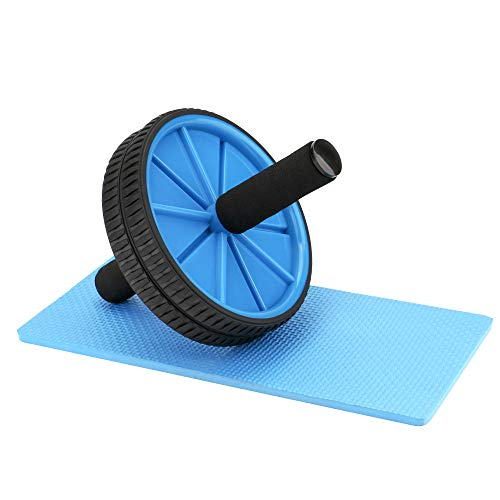 REEHUT Ab Wheels, Abs Roller Wheel for Core Exercise with Dual Wheels and Comfy Foam Handles - Easy Assembly, Great for Abdominal Workout with Knee Pad (Blue)