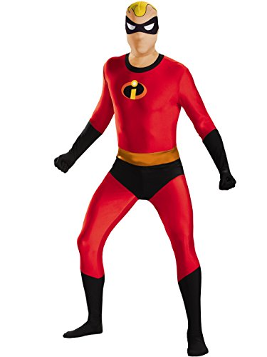 Disguise Men's Mr. Incredible Bodysuit Skinovation Costume, Red, X-Large -