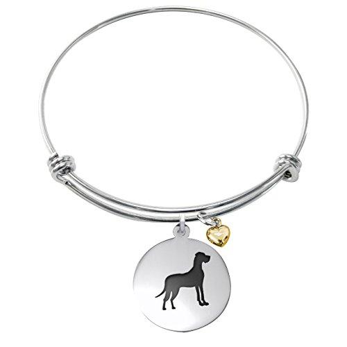 (College Jewelry Great Dane Bracelet | Stainless Steel Adjustable Bangle | Dog Charm Bracelets)