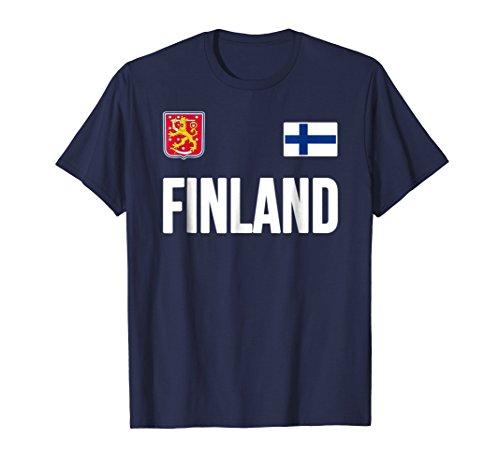 Mens Finland T-shirt Finnish Flag Soccer Hockey Fan Jersey Sisu Large Navy