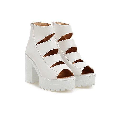 VogueZone009 Women's PU Solid Zipper Open Toe High-Heels Heeled-Sandals White Hdsd7Fge8u