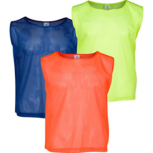 Set of 12- Scrimmage Vest / Pinnies / Team Practice Jerseys with FREE Carry Bag. Sizes for Children, Youth, Adult and Adult XXL by Athllete