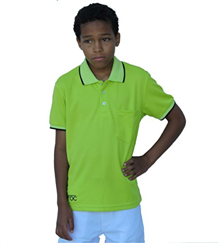 Droc - Mica Signature Collection Dri-Fit Lime and Black Pique Polo (Boys) (8-10 Yrs Old - Sleeve Youth Pique Polo