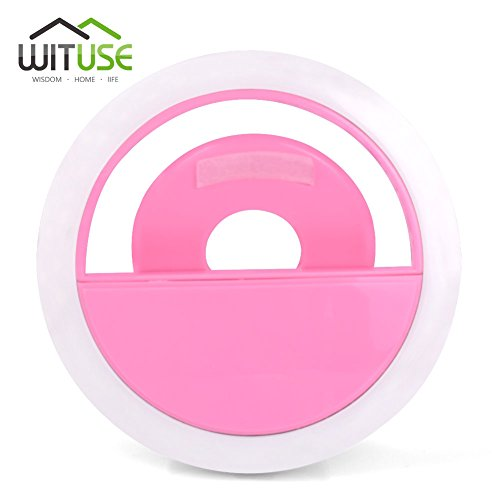 Mini Selfie 36LED Flash Fill Light Ring Clip Photography Pink For iPhone