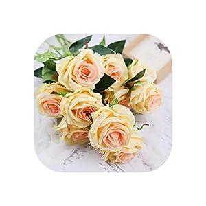 10Pcs Silk European Flores Bouquet Artificial Flowers Vivid Rose Fake Leaf Wedding Home Party Valentine's Day Decoration 18