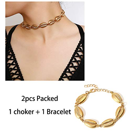 VZBarn Boho Handmade Shells Bracelet & Cord Choker Necklace Jewelry Set for Women Gold Tone
