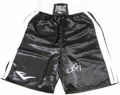 RDB Holdings & Consulting CTBL-020456 Roy Jones44; Jr. Signed Everlast Black & White Trim Boxing Trunks by RDB Holdings & Consulting
