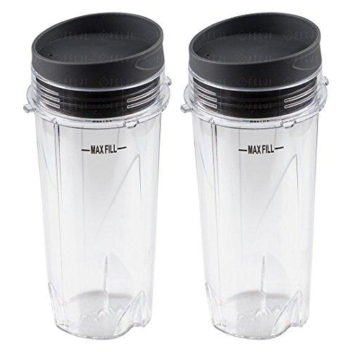 2 Nutri Ninja 16 oz Cups with To-Go Lids Replacement Model 303KKU 305KKU for BL660 BL663 BL663CO BL665Q BL740 BL780 BL810 BL820 BL830 (Ninja Single Pulse Blender)