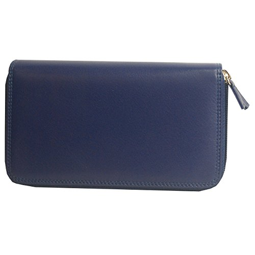 belarno-womens-a223-double-zip-clutch-wallet-blue-multicolor