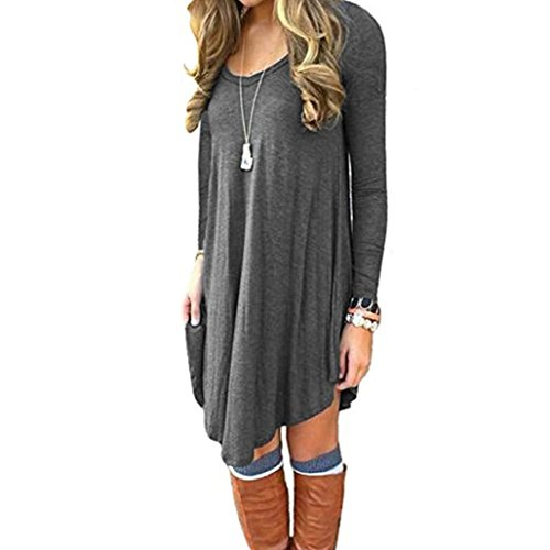 TAORE Women Loose Casual O-Neck Long Sleeve Tunic Shirt Ruffles Mini Dress (USM(TagL), X-Dark Gray) (Brooch Bolero)