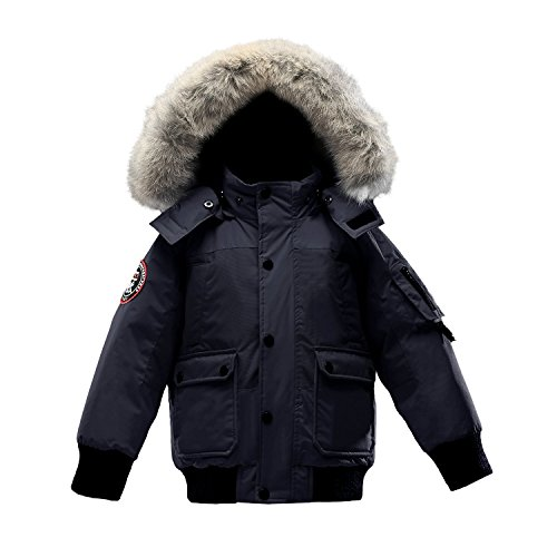 Triple F.A.T. Goose Grinnell Boys Down Jacket with Real Coyote Fur (4, Navy) by Triple F.A.T. Goose