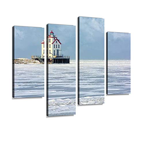 Lorain Lighthouse in Winter Canvas Wall Art Hanging Paintings Modern Artwork Abstract Picture Prints Home Decoration Gift Unique Designed Framed 4 Panel