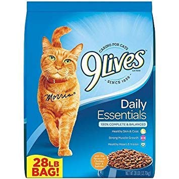 9lives Daily Essentials 28-pound Dry Cat Food, Flavors Salmon, Chicken, Beef for Daily Essential, Delicious, Heart Health, Clear Vision, Strong Muscles, & Healthy Skin & Coat, 100% Balanced Long Life by 9Lives