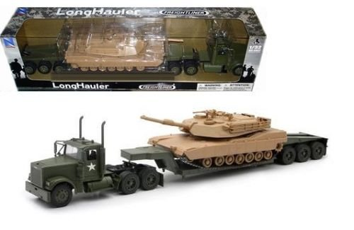 NEW 1:32 NEWRAY TRUCK & TRAILER COLLECTION - FREIGHTLINER LONGHAULER ARMY TRAILER WITH M1A1 TANK Diecast Model By NEW RAY TOYS