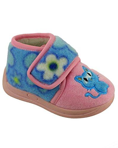 Mirak Girls Dinky Touch Fastening Fuzzy Patterned Slipper Light Blue