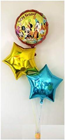 ディズニー バースデー バルーン ヘリウム 風船 星 ゴールド ブルー 赤