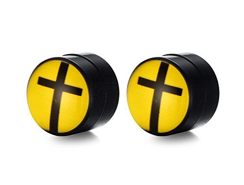 XUANPAI Stainless Steel Enamel Black Yellow Round Cross Magnetic Stud Earring for Men Women