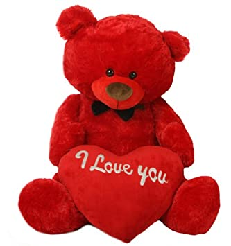Red 5 Feet Big Teddy Bear With Big Red I Love You Heart