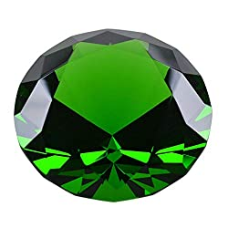 Dark Green Diamond Shaped Glass Crystal Paperweight