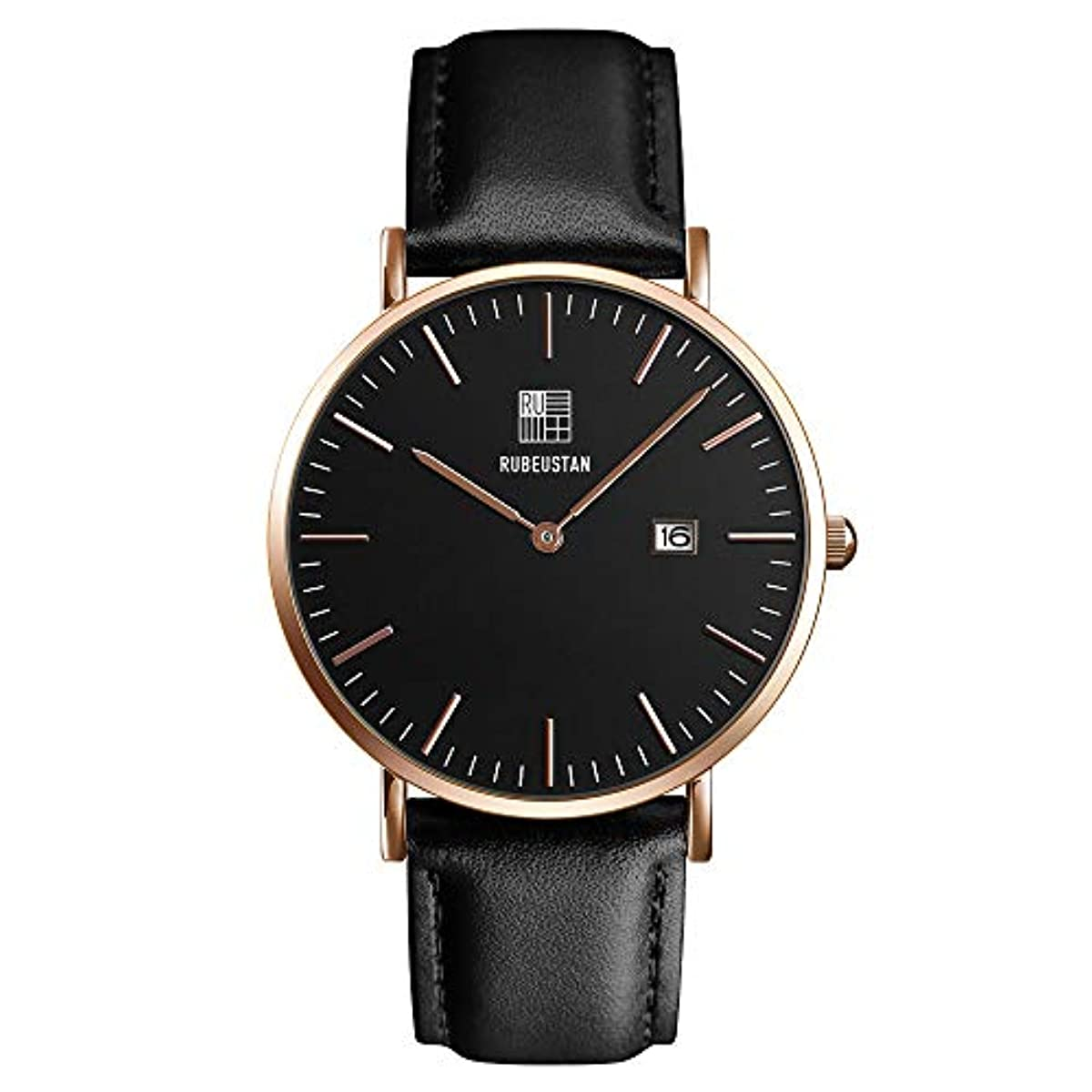 [해외] [루비우스탄]RUBEUSTAN 손목시계 레이디스 시계 여성 심플 (블랙&캘린더)