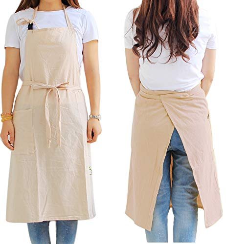 Smock Aprons for Women with Pocket - Extra Long Waist Ties, Adjustable Neck Strap, Japanese Style, Cool Cotton Fabric Pinafore for Housewife (Plain Beige)