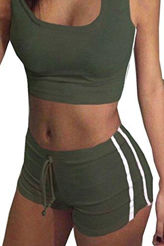 Tuesdays2 Womens Sexy Sports Yoga Crop Tank Top and Shorts 2 Piece Set (L, ArmyGreen)