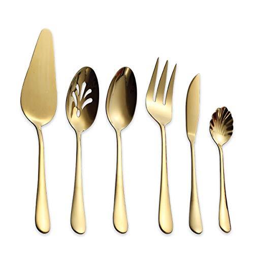 (Berglander Stainless Steel Golden Titanium Plated Flatware Serving Set 6 Pieces, 5 Serving Pieces of 45 Pieces Flatware with 1 Cake Server, Golden Serving Silverware Set (Shiny)