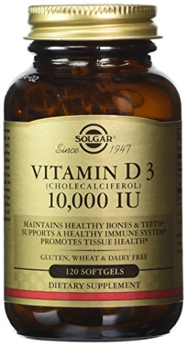 Solgar - Vitamin D3 (Cholecalciferol) 10,000 IU Softgels, 120 Count - Supports Bone, Muscle and Immune System