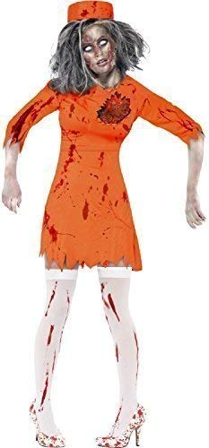 Ladies Orange Latex Death Row Dead Zombie Prisoner Convict Halloween Fancy Dress Costume Outfit (UK 16-18) -