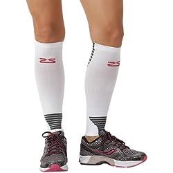 Zensah Ultra Compression Leg Sleeves for Running, Shin Splint Relief, White,Medium