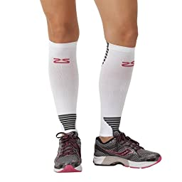 Zensah Ultra Compression Leg Sleeves for Running, Shin Splint Relief, White,Large