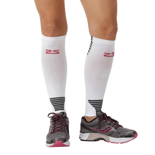 Zensah Ultra Compression Leg Sleeves for Running, Shin Splint Relief, White,Small