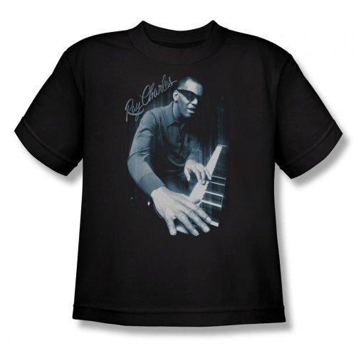 Ray Charles Youth T-Shirt Blues Piano, XL, Black