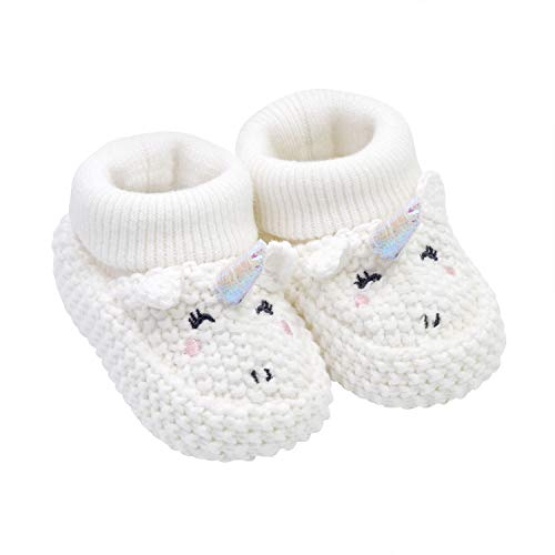 Knit Newborn Booties - Carter's Soft Sole Baby Girl Unicorn Knit Bootie-Newborn Slipper, White, Regular US Infant
