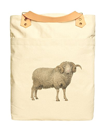 Arles Merino Sheep Print 100% Cotton Canvas Leather Strap Laptop Backpack WAS_34 (Canvas Arles)