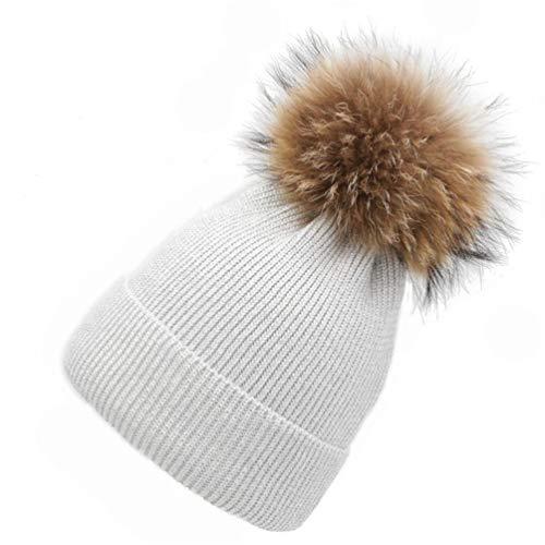 Women Knit Wool Beanie - Winter Solid Cashmere Ski Hats Raccoon Fur Pom Pom Bobble Hat Ski Cap ()