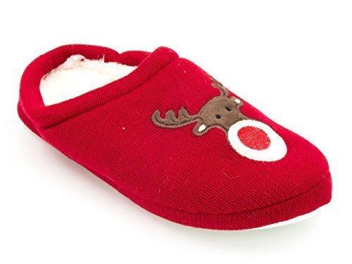 Mujer Forro Polar Navidad Rudolph Pantuflas Rojo