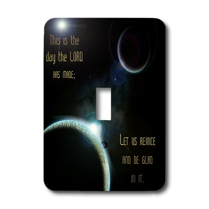 3dRose LLC 3dRose LLC lsp_99100_1 A sun announcing a new dawn over a solar system with the bible verse psalm 118 verse 24 - Single Toggle Switch