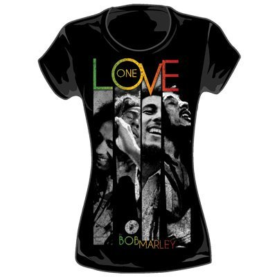 Bob Marley - One Love Stripes Juniors T-Shirt in Black, Size: Small, Color: Black