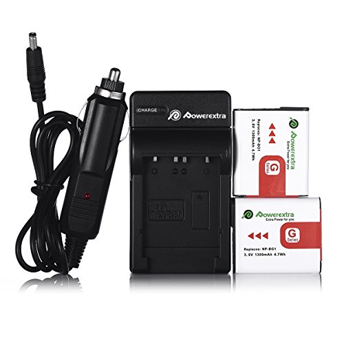 NP-BG1 Powerextra 2 Pack Replacement Battery with Charger for Sony NP-BG1 Type G Lithium Ion Rechargeable Battery Pack and Sony W Series Digital Cameras Bg1 Lithium Ion Rechargeable Battery