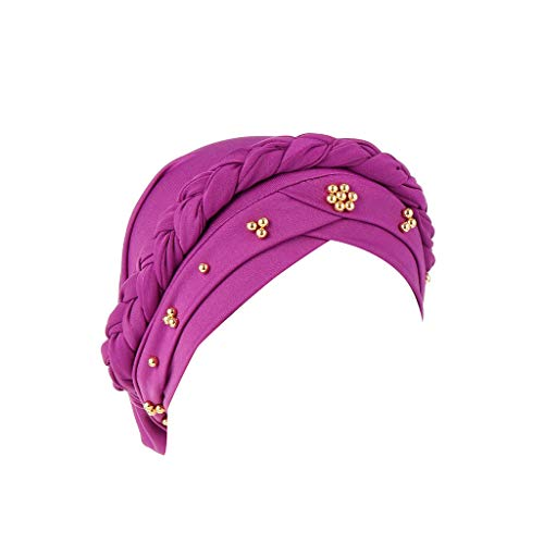 YEZIJIN Women Beading India Hat Muslim Ruffle Cancer Chemo Beanie Turban Wrap Cap Summer Best 2019 New Purple